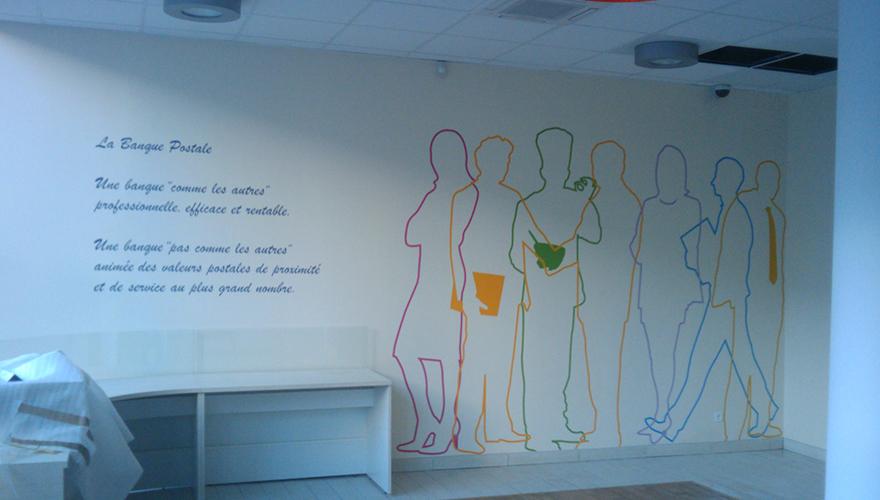 Décoration adhésive murale silhouettes filaires